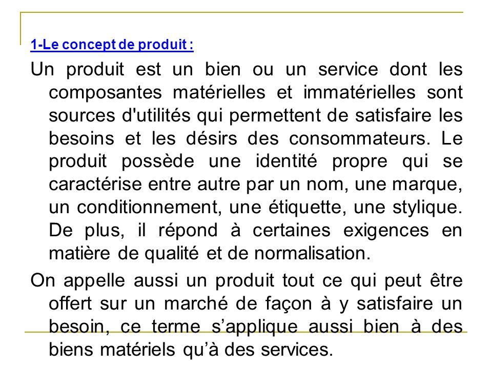 1-Le concept de produit : Un produit est un bien ou un service dont les composantes matérielles et immatérielles sont sources d'utilités qui permetten
