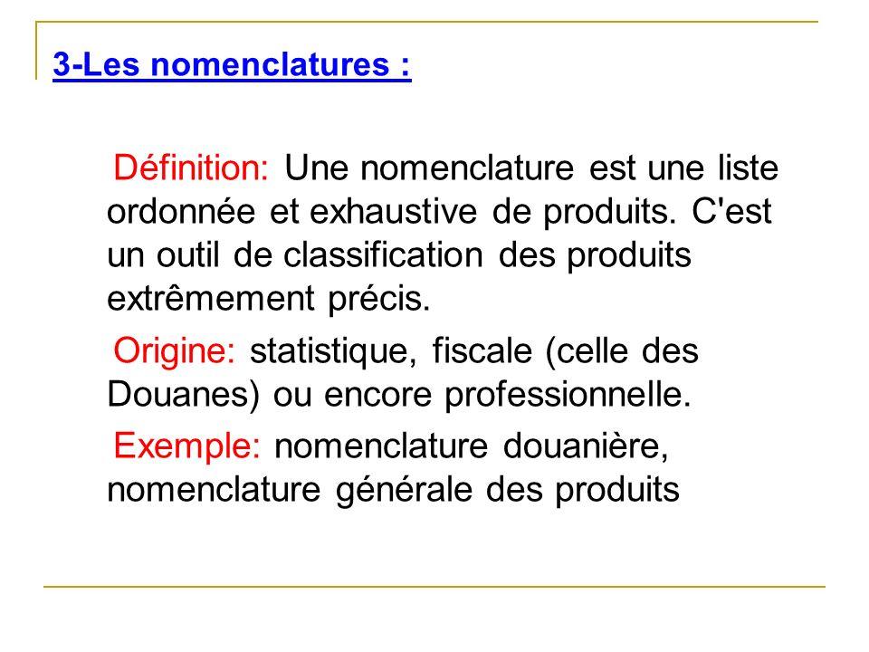 3-Les nomenclatures : Définition: Une nomenclature est une liste ordonnée et exhaustive de produits. C'est un outil de classification des produits ext