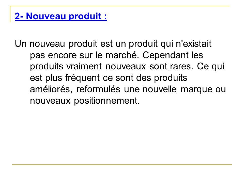 2- Nouveau produit : Un nouveau produit est un produit qui n'existait pas encore sur le marché. Cependant les produits vraiment nouveaux sont rares. C