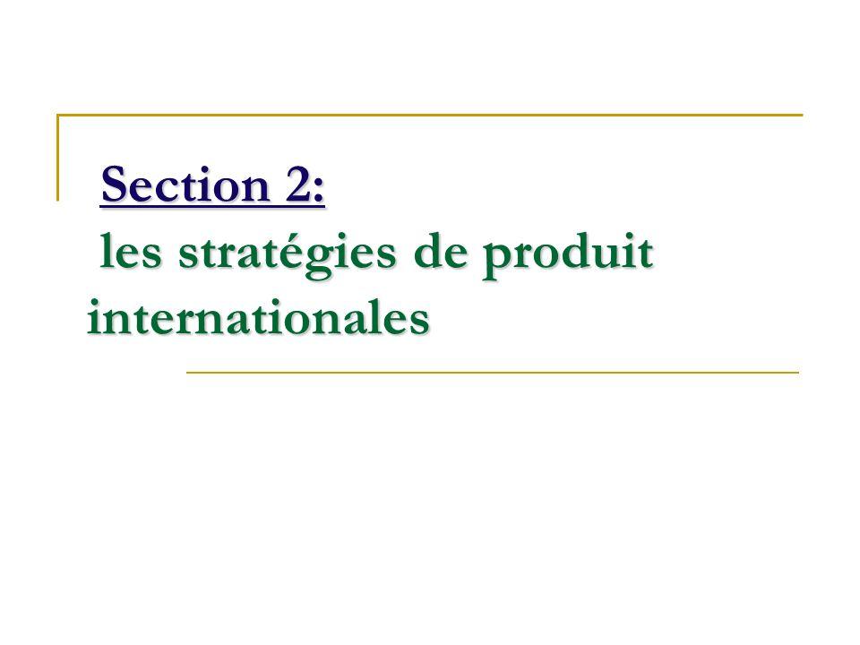 Section 2: les stratégies de produit internationales Section 2: les stratégies de produit internationales