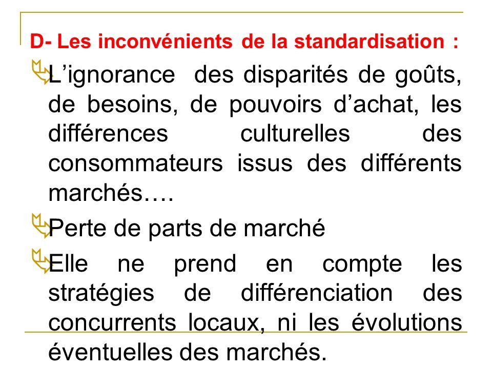 D- Les inconvénients de la standardisation : Lignorance des disparités de goûts, de besoins, de pouvoirs dachat, les différences culturelles des conso