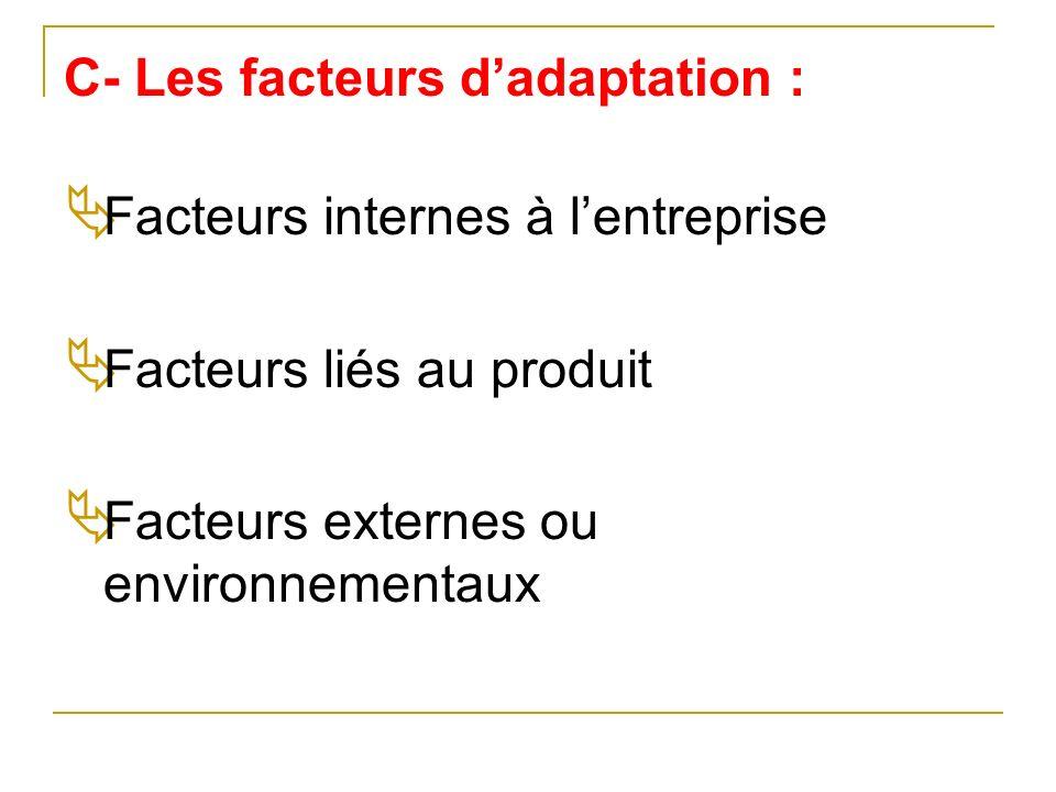 C- Les facteurs dadaptation : Facteurs internes à lentreprise Facteurs liés au produit Facteurs externes ou environnementaux
