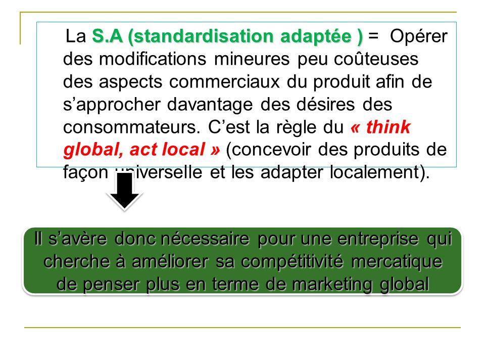 S.A (standardisation adaptée ) La S.A (standardisation adaptée ) = Opérer des modifications mineures peu coûteuses des aspects commerciaux du produit