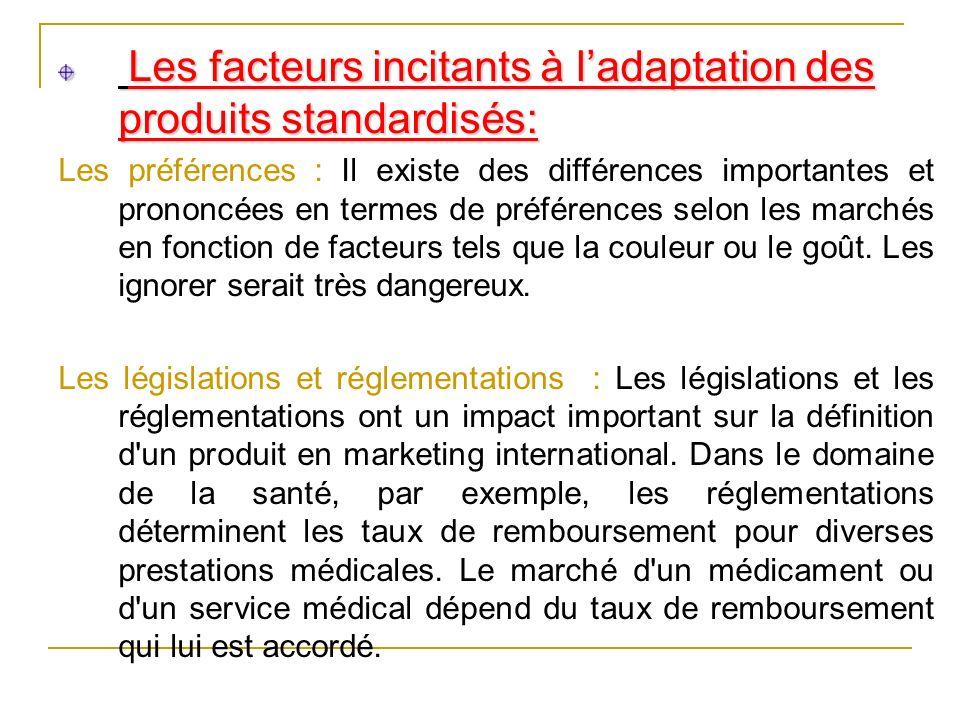 Les facteurs incitants à ladaptation des produits standardisés: Les facteurs incitants à ladaptation des produits standardisés: Les préférences : Il e
