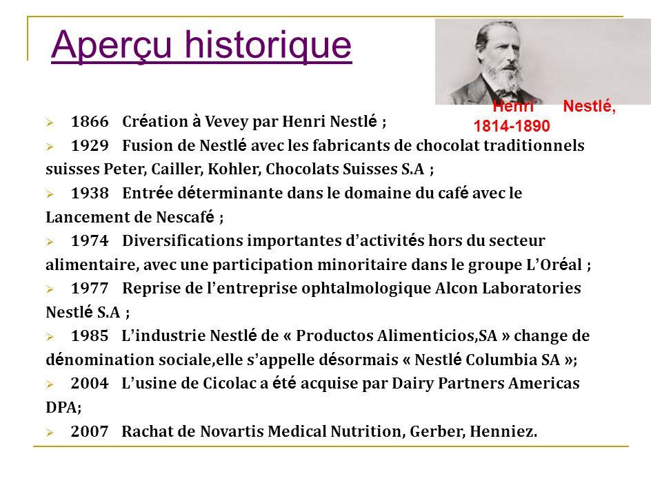 Aperçu historique 1866 : Cr é ation à Vevey par Henri Nestl é ; 1929 : Fusion de Nestl é avec les fabricants de chocolat traditionnels suisses Peter,