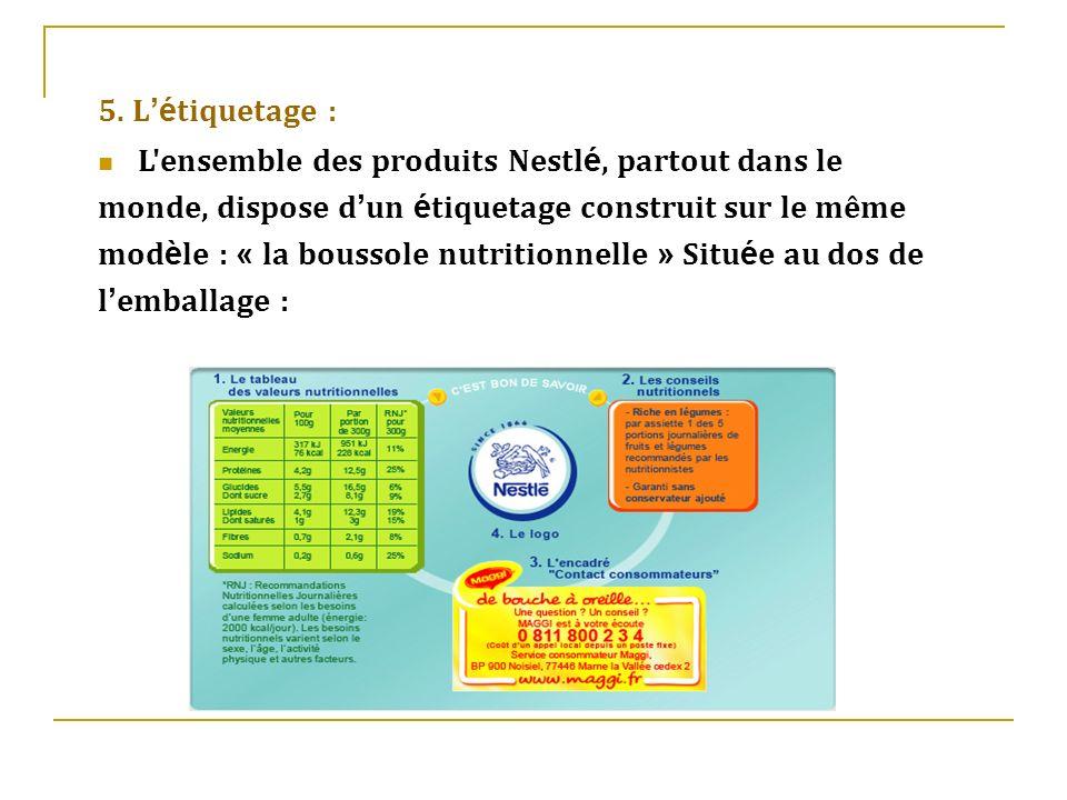 5. L é tiquetage : L'ensemble des produits Nestl é, partout dans le monde, dispose d un é tiquetage construit sur le même mod è le : « la boussole nut