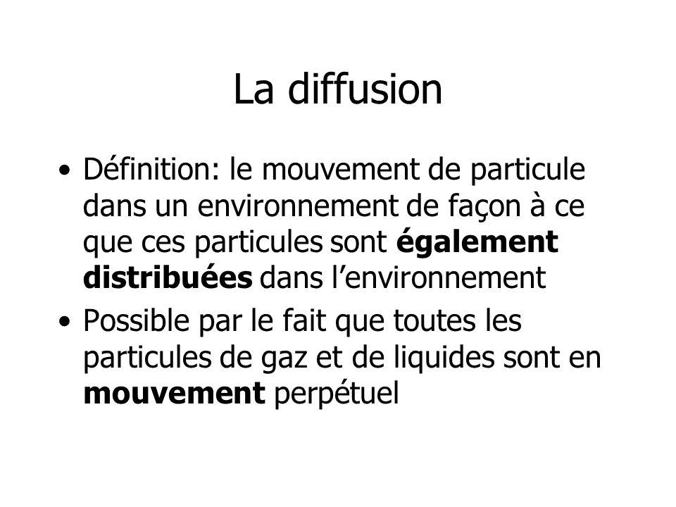La diffusion Définition: le mouvement de particule dans un environnement de façon à ce que ces particules sont également distribuées dans lenvironneme