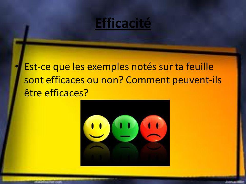 Efficacité Est-ce que les exemples notés sur ta feuille sont efficaces ou non? Comment peuvent-ils être efficaces?