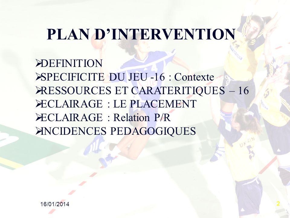 2 PLAN DINTERVENTION DEFINITION SPECIFICITE DU JEU -16 : Contexte RESSOURCES ET CARATERITIQUES – 16 ECLAIRAGE : LE PLACEMENT ECLAIRAGE : Relation P/R