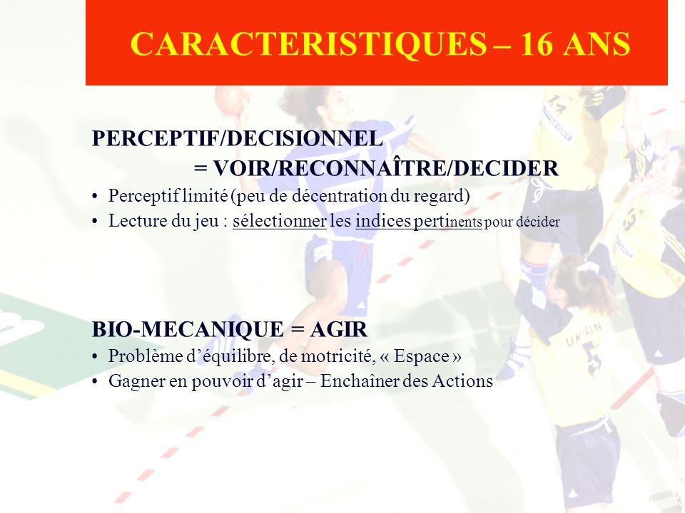 CARACTERISTIQUES – 16 ANS PERCEPTIF/DECISIONNEL = VOIR/RECONNAÎTRE/DECIDER Perceptif limité (peu de décentration du regard) Lecture du jeu : sélection