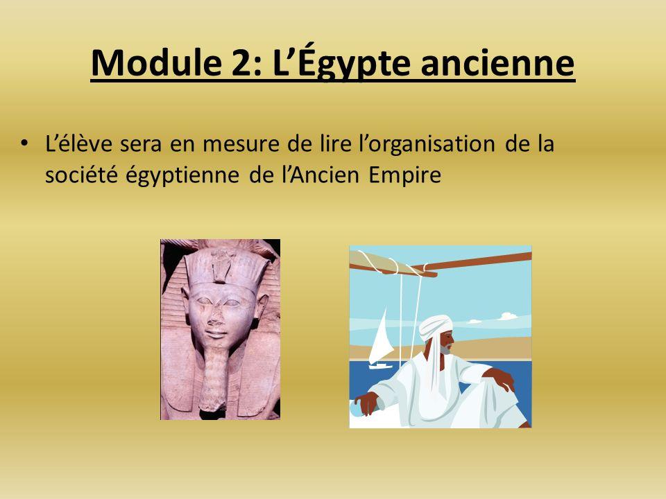 Module 2: LÉgypte ancienne Lélève sera en mesure de lire lorganisation de la société égyptienne de lAncien Empire