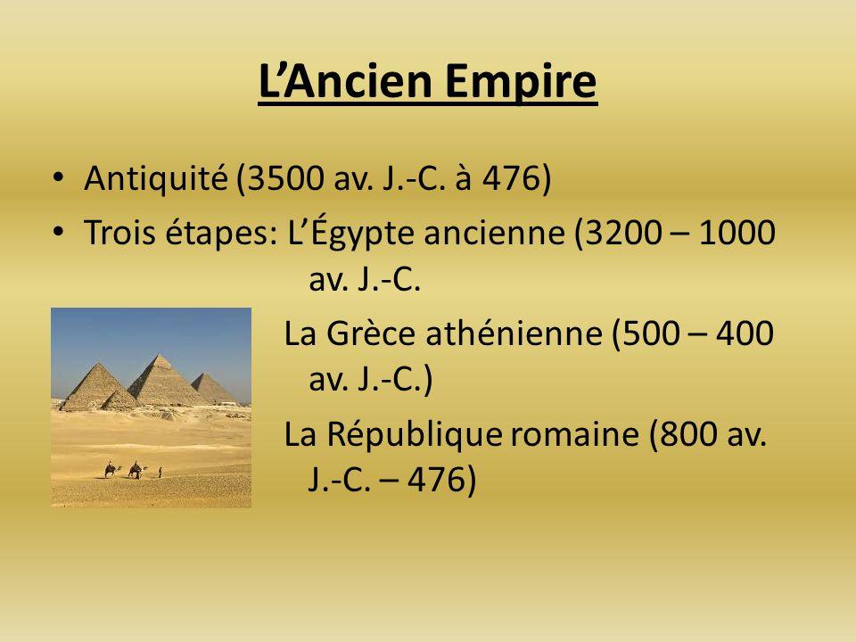 LAncien Empire Antiquité (3500 av. J.-C. à 476) Trois étapes: LÉgypte ancienne (3200 – 1000 av. J.-C. La Grèce athénienne (500 – 400 av. J.-C.) La Rép