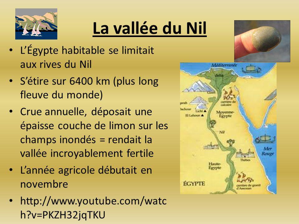 La vallée du Nil LÉgypte habitable se limitait aux rives du Nil Sétire sur 6400 km (plus long fleuve du monde) Crue annuelle, déposait une épaisse cou