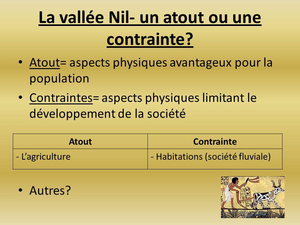 La vallée Nil- un atout ou une contrainte? Atout= aspects physiques avantageux pour la population Contraintes= aspects physiques limitant le développe