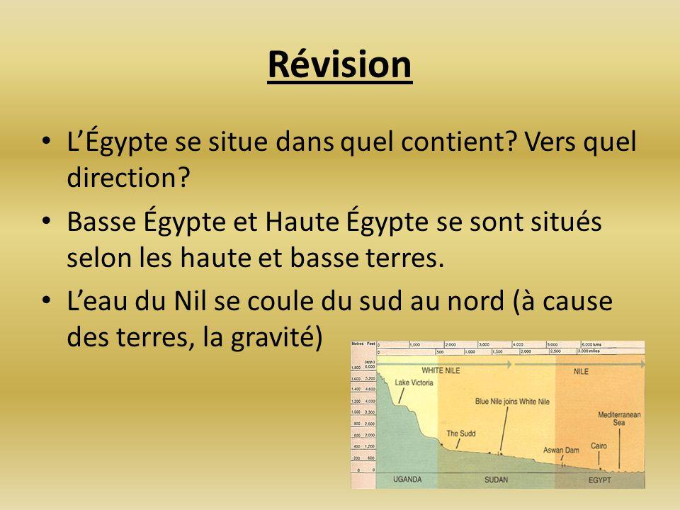 Révision LÉgypte se situe dans quel contient? Vers quel direction? Basse Égypte et Haute Égypte se sont situés selon les haute et basse terres. Leau d