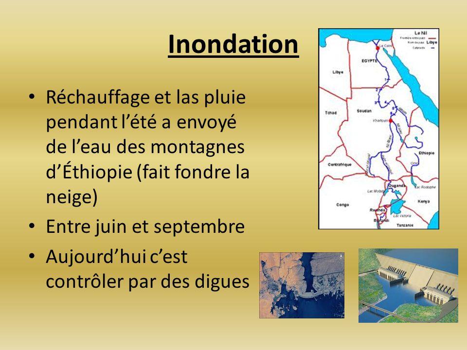 Inondation Réchauffage et las pluie pendant lété a envoyé de leau des montagnes dÉthiopie (fait fondre la neige) Entre juin et septembre Aujourdhui ce
