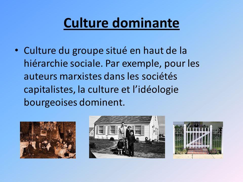 Culture dominante Culture du groupe situé en haut de la hiérarchie sociale.