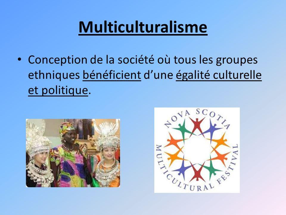 Multiculturalisme Conception de la société où tous les groupes ethniques bénéficient dune égalité culturelle et politique.