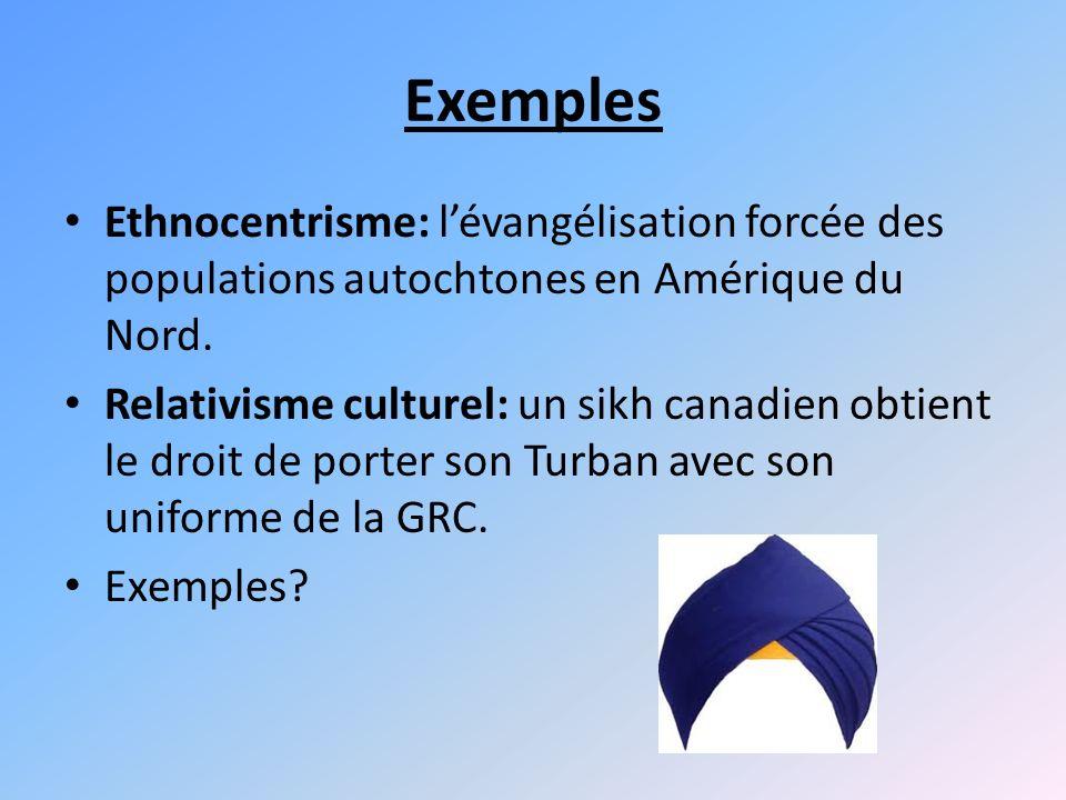 Exemples Ethnocentrisme: lévangélisation forcée des populations autochtones en Amérique du Nord.