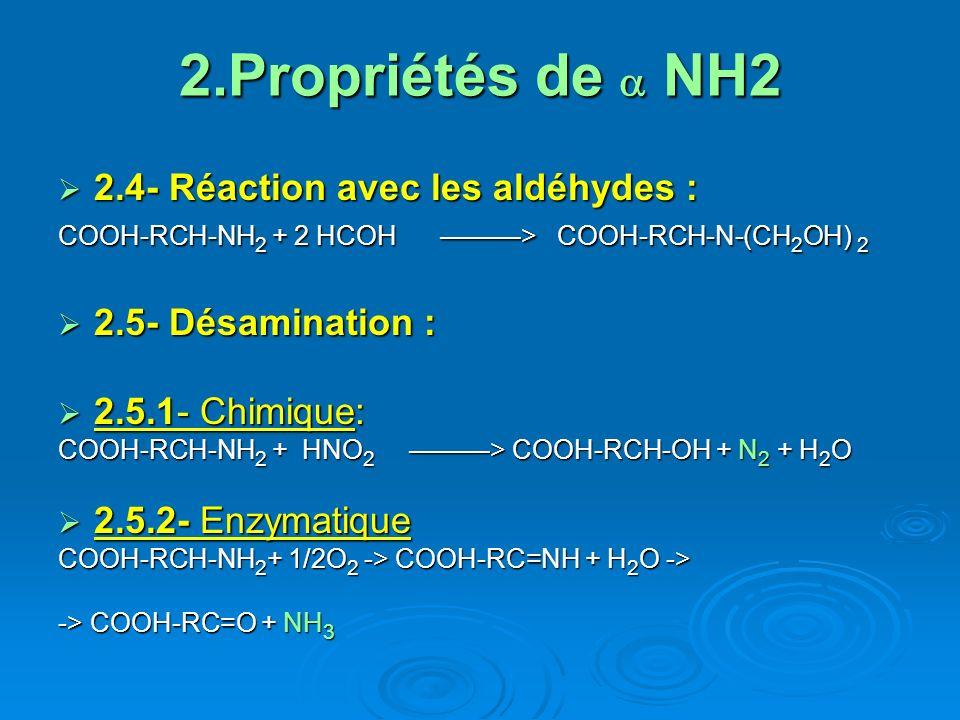 2.Propriétés de NH2 2.4- Réaction avec les aldéhydes : 2.4- Réaction avec les aldéhydes : COOH-RCH-NH 2 + 2 HCOH > COOH-RCH-N-(CH 2 OH) 2 2.5- Désamin