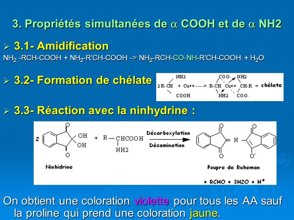 3. Propriétés simultanées de COOH et de NH2 3.1- Amidification 3.1- Amidification NH 2 -RCH-COOH + NH 2 -RCH-COOH -> NH 2 -RCH-CO-NH-RCH-COOH + H 2 O