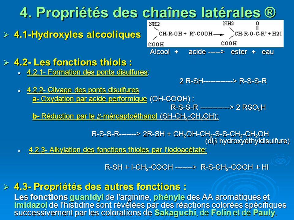 4. Propriétés des chaînes latérales ® 4.1-Hydroxyles alcooliques 4.1-Hydroxyles alcooliques Alcool + acide -----> ester + eau Alcool + acide -----> es