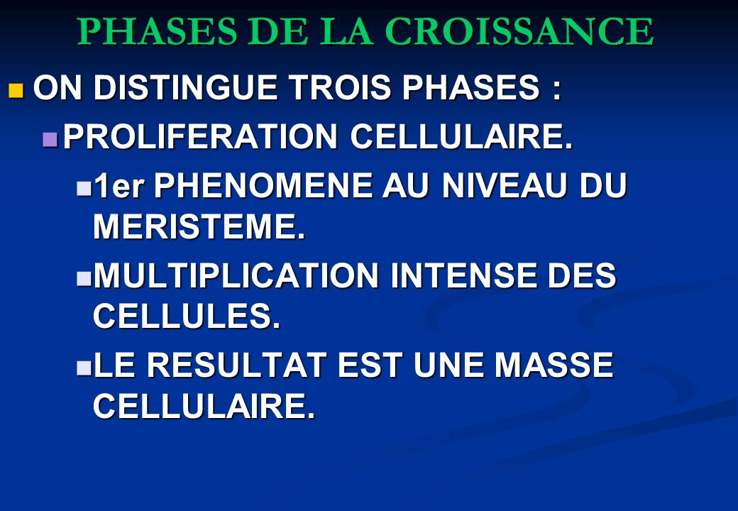 PHASES DE LA CROISSANCE ON DISTINGUE TROIS PHASES : ON DISTINGUE TROIS PHASES : PROLIFERATION CELLULAIRE. PROLIFERATION CELLULAIRE. 1er PHENOMENE AU N