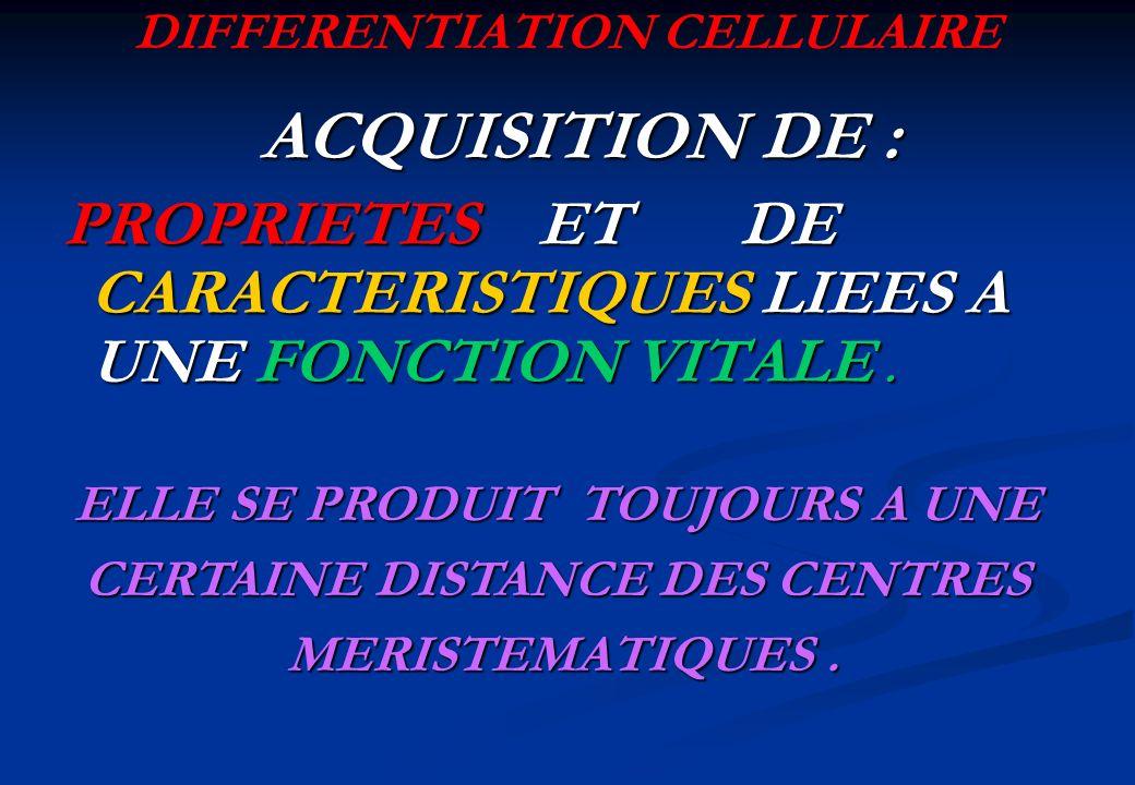ACQUISITION DE : ACQUISITION DE : PROPRIETES ET DE CARACTERISTIQUES LIEES A UNE FONCTION VITALE. PROPRIETES ET DE CARACTERISTIQUES LIEES A UNE FONCTIO