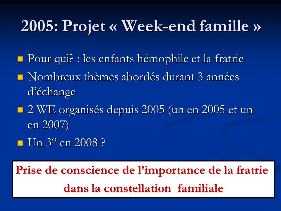 2005: Projet « Week-end famille » Pour qui? : les enfants hémophile et la fratrie Pour qui? : les enfants hémophile et la fratrie Nombreux thèmes abor