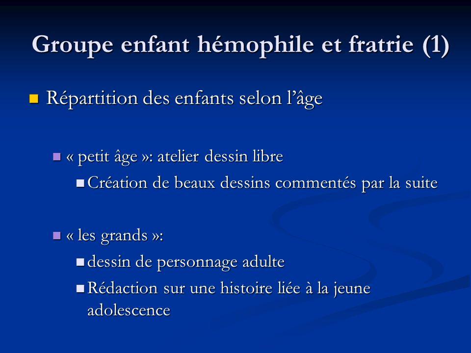 Groupe enfant hémophile et fratrie (1) Répartition des enfants selon lâge Répartition des enfants selon lâge « petit âge »: atelier dessin libre « pet