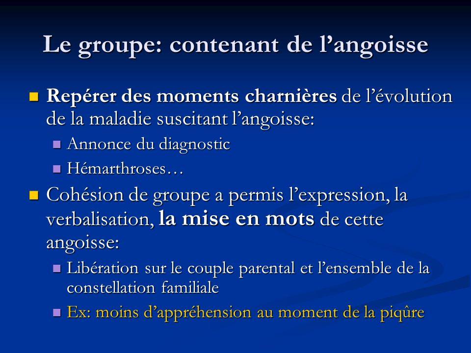 Le groupe: contenant de langoisse Repérer des moments charnières de lévolution de la maladie suscitant langoisse: Repérer des moments charnières de lé