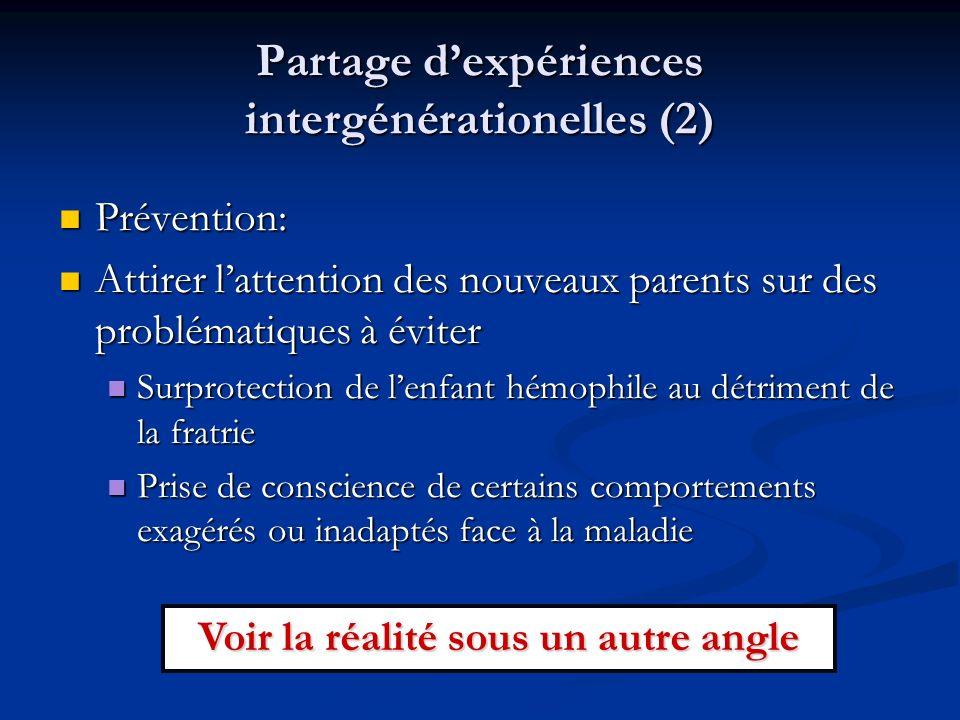 Partage dexpériences intergénérationelles (2) Prévention: Prévention: Attirer lattention des nouveaux parents sur des problématiques à éviter Attirer