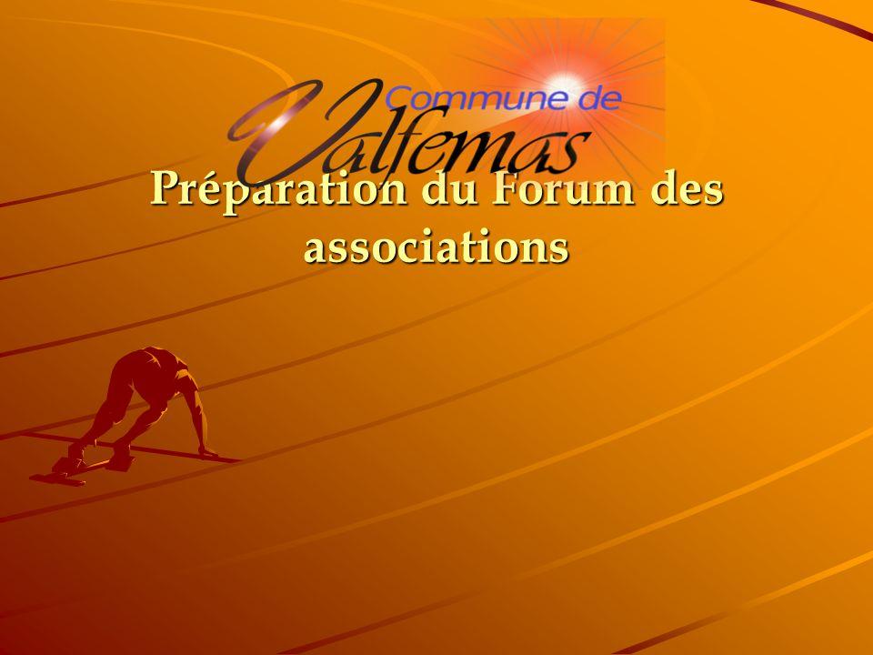 Ordre du jour: Mise en place du forum des associations de Mai 2012 Fixation de la date du forum Prévision budgétaire.