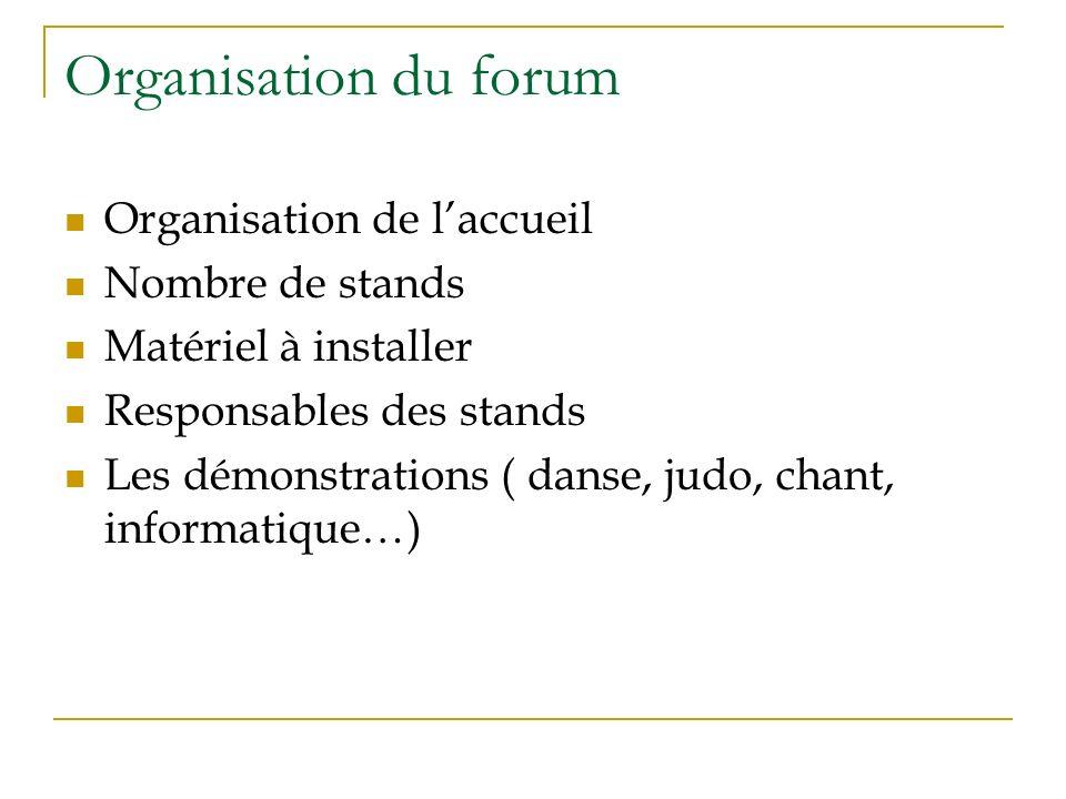 Organisation du forum Organisation de laccueil Nombre de stands Matériel à installer Responsables des stands Les démonstrations ( danse, judo, chant, informatique…)