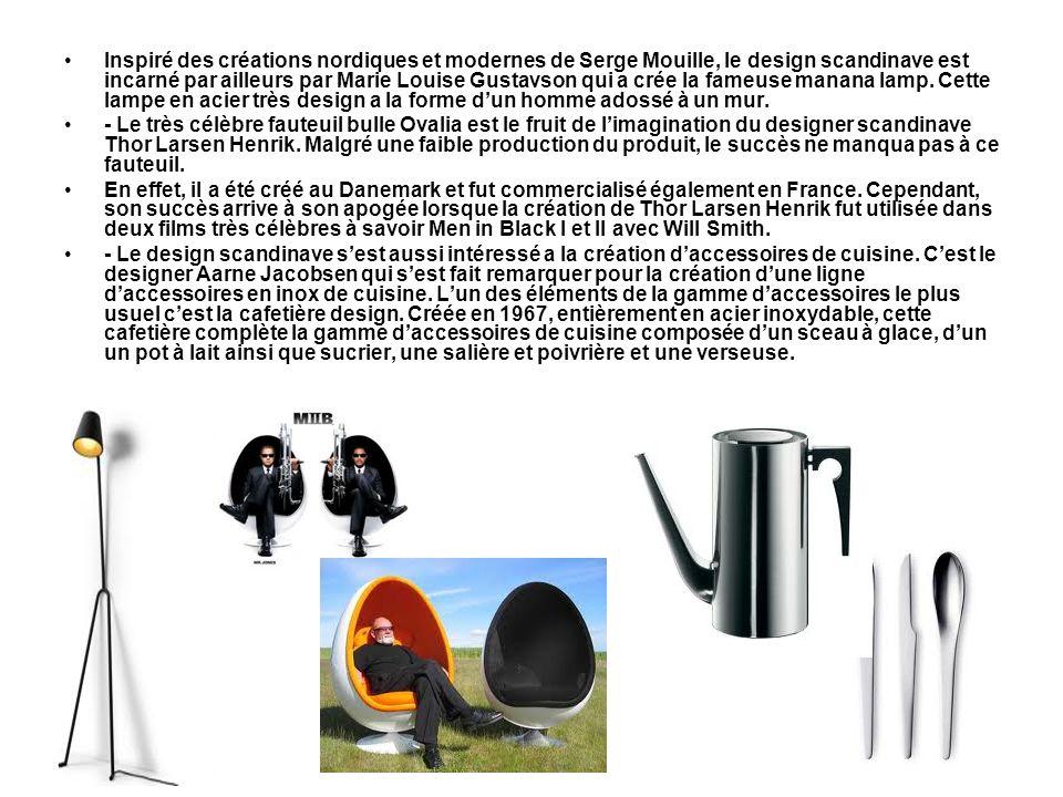 Inspiré des créations nordiques et modernes de Serge Mouille, le design scandinave est incarné par ailleurs par Marie Louise Gustavson qui a crée la f