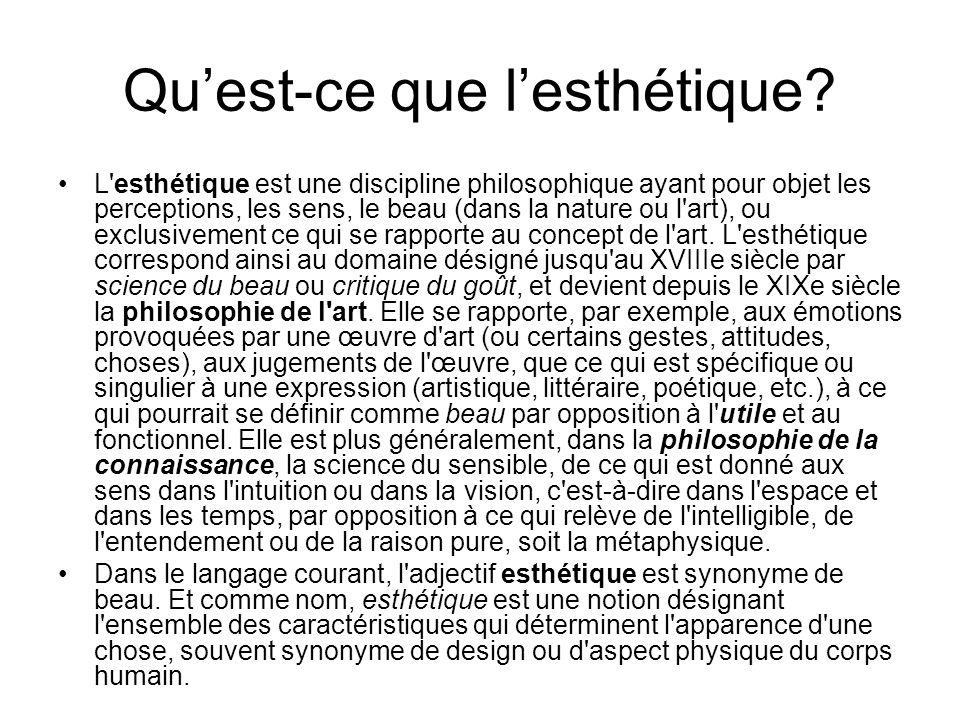 Quest-ce que lesthétique? L'esthétique est une discipline philosophique ayant pour objet les perceptions, les sens, le beau (dans la nature ou l'art),