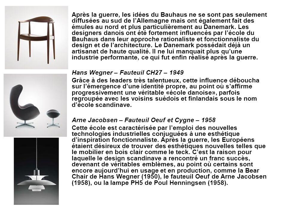 Après la guerre, les idées du Bauhaus ne se sont pas seulement diffusées au sud de lAllemagne mais ont également fait des émules au nord et plus parti
