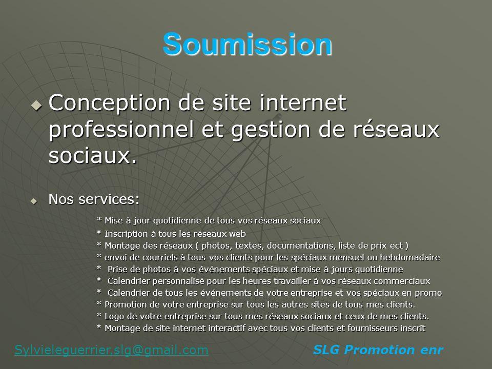 Soumission Conception de site internet professionnel et gestion de réseaux sociaux.
