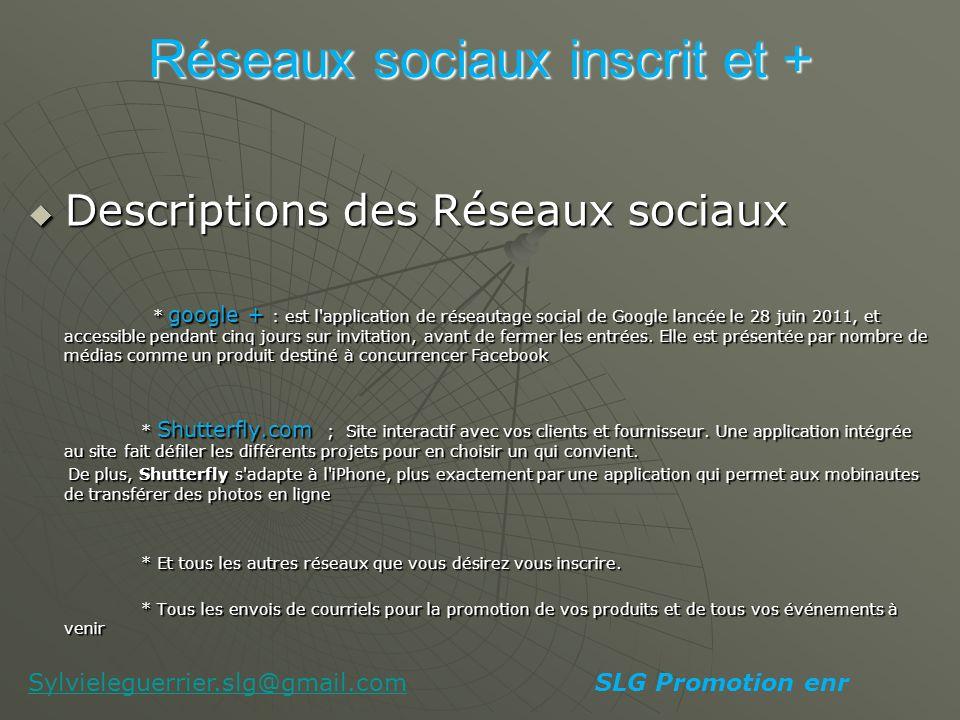 Mes Coordonnées Mes Coordonnées Sylvie Le Guerrier Sylvie Le Guerrier Compagnie : SLG Promotion enr Compagnie : SLG Promotion enr Courriel: sylvieleguerrier.slg@gmail.com Courriel: sylvieleguerrier.slg@gmail.comsylvieleguerrier.slg@gmail.com Cellulaire : 514.519.2235 Cellulaire : 514.519.2235 Site internet intéractif : http://slgbookingenr.shutterfly.com/ Site internet intéractif : http://slgbookingenr.shutterfly.com/ Facebook : Sylvie Le Guerrier et SLG Booking enr Facebook : Sylvie Le Guerrier et SLG Booking enr Twitter : sylvie_legs Twitter : sylvie_legs SLG Promotion enrSylvieleguerrier.slg@gmail.com
