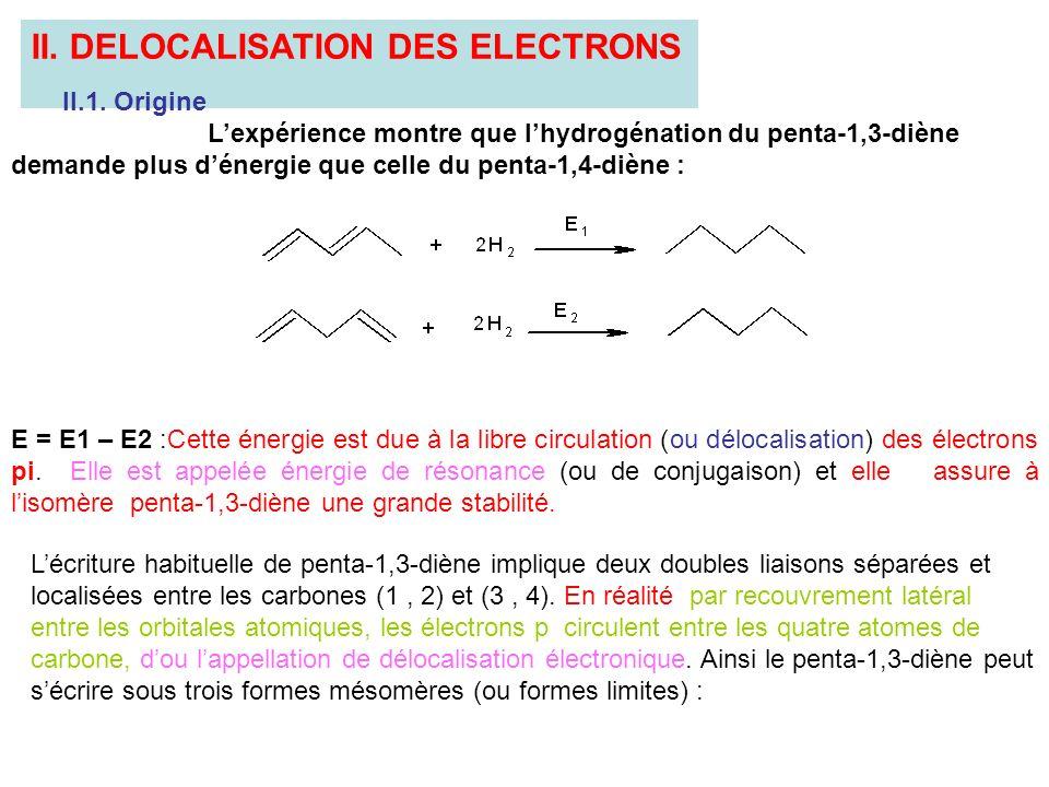 II. DELOCALISATION DES ELECTRONS II.1. Origine Lexpérience montre que lhydrogénation du penta-1,3-diène demande plus dénergie que celle du penta-1,4-d