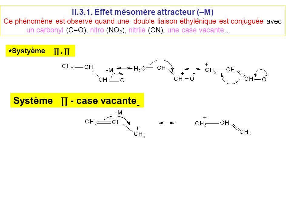 II.3.1. Effet mésomère attracteur (–M) Ce phénomène est observé quand une double liaison éthylénique est conjuguée avec un carbonyl (C=O), nitro (NO 2