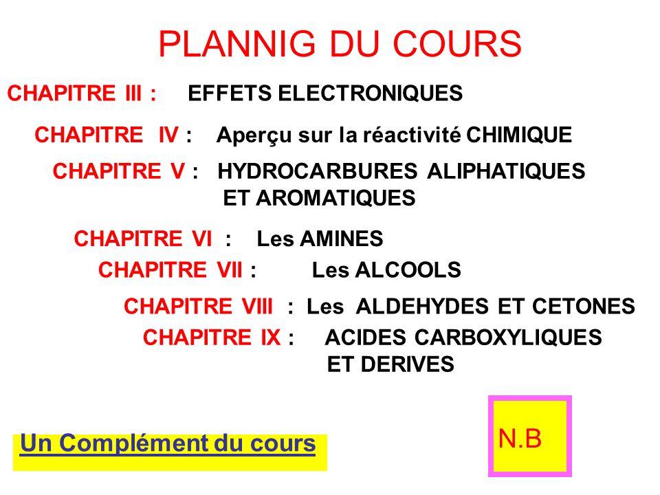 PLANNIG DU COURS CHAPITRE III : EFFETS ELECTRONIQUES CHAPITRE IV : Aperçu sur la réactivité CHIMIQUE CHAPITRE V : HYDROCARBURES ALIPHATIQUES ET AROMAT