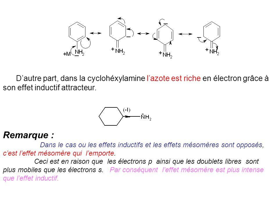 Dautre part, dans la cyclohéxylamine lazote est riche en électron grâce à son effet inductif attracteur. Remarque : Dans le cas ou les effets inductif