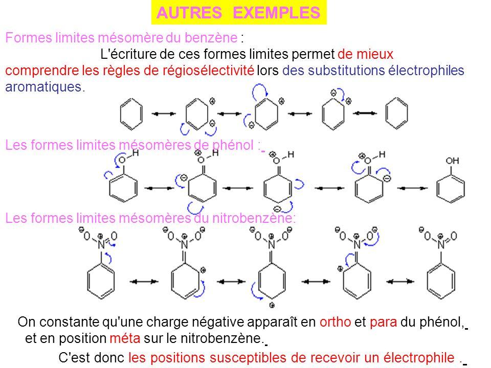 Formes limites mésomère du benzène : L'écriture de ces formes limites permet de mieux comprendre les règles de régiosélectivité lors des substitutions