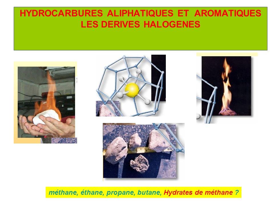 HYDROCARBURES ALIPHATIQUES ET AROMATIQUES LES DERIVES HALOGENES méthane, éthane, propane, butane, Hydrates de méthane ?
