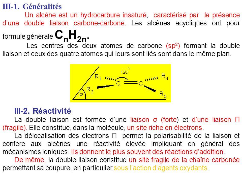 III-1. Généralités Un alcène est un hydrocarbure insaturé, caractérisé par la présence dune double liaison carbone-carbone. Les alcènes acycliques ont