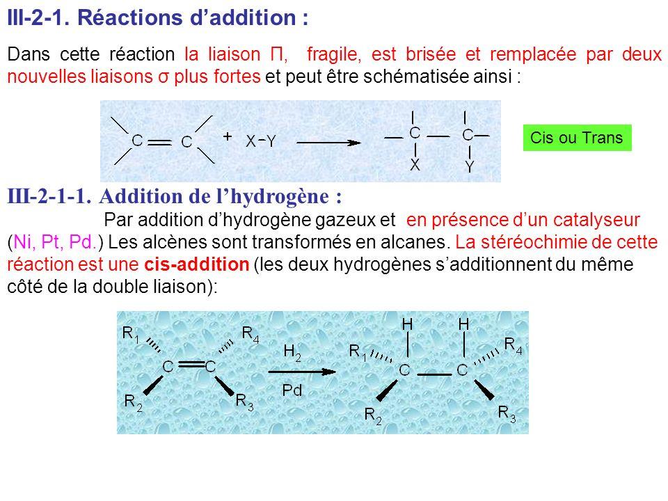 III-2-1. Réactions daddition : Dans cette réaction la liaison П, fragile, est brisée et remplacée par deux nouvelles liaisons σ plus fortes et peut êt
