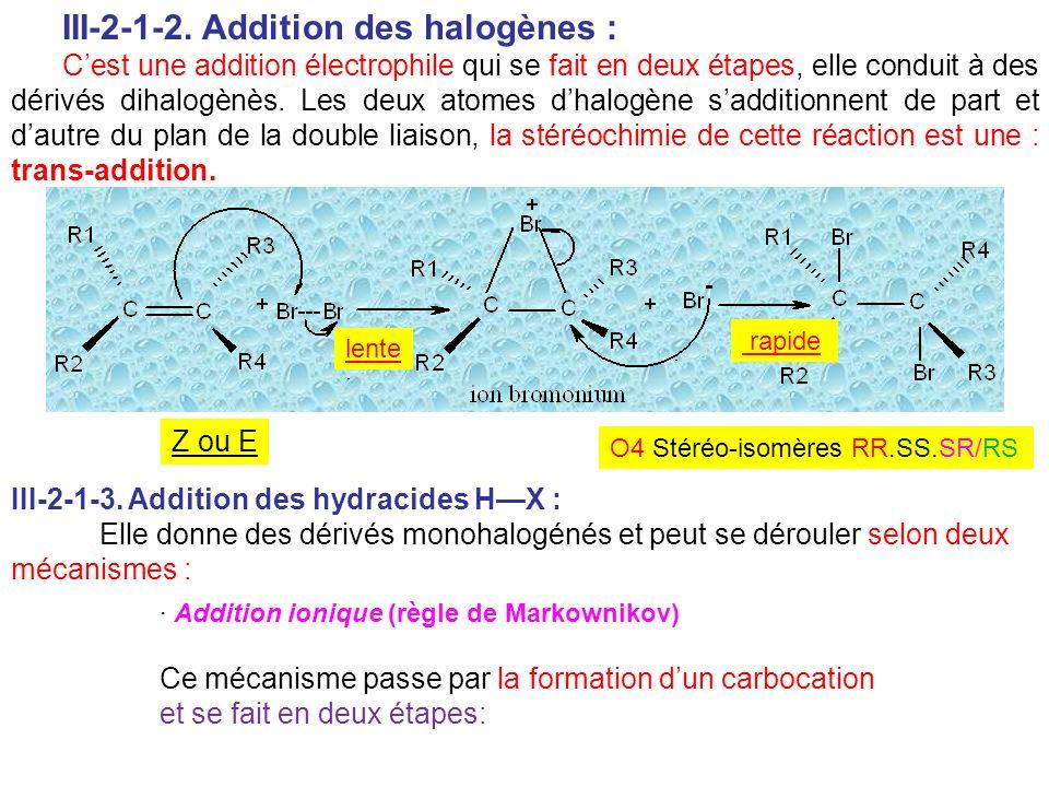 III-2-1-2. Addition des halogènes : Cest une addition électrophile qui se fait en deux étapes, elle conduit à des dérivés dihalogènès. Les deux atomes