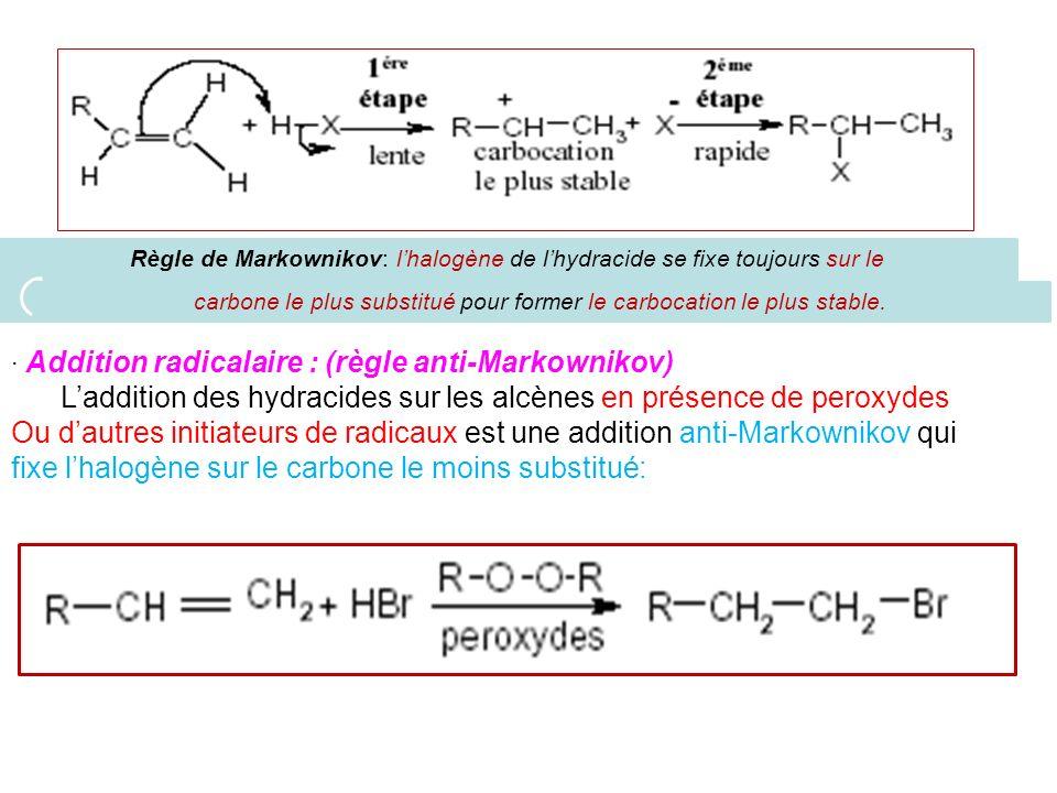Règle de Markownikov: lhalogène de lhydracide se fixe toujours sur le carbone le plus substitué pour former le carbocation le plus stable. · Addition
