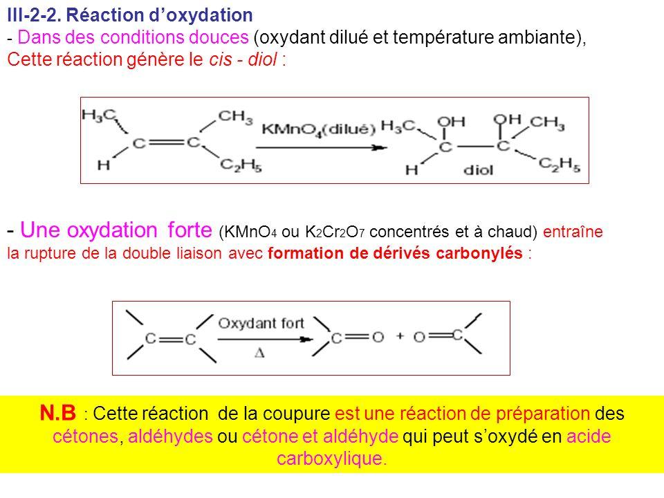 III-2-2. Réaction doxydation - Dans des conditions douces (oxydant dilué et température ambiante), Cette réaction génère le cis - diol : - Une oxydati